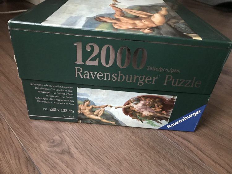 Image of the puzzle 12000, Ravensburger, The Creation of Adam, by Michelangelo, Sealed Bag, Picture of the box