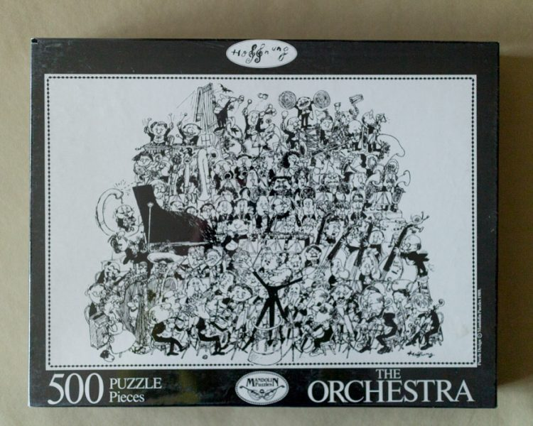 Image of the puzzle 500, Mandolin, The Orchestra, by Gerard Hoffnung, Factory Sealed, Picture of the box