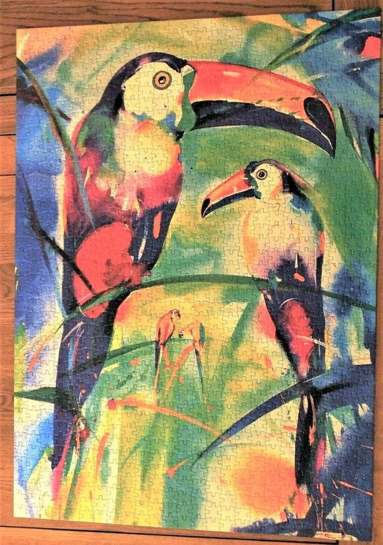 Image of the puzzle 1000, Jumbo, Couple of Toucans, by Alfred Gockel, Complete, Picture of the puzzle assembled