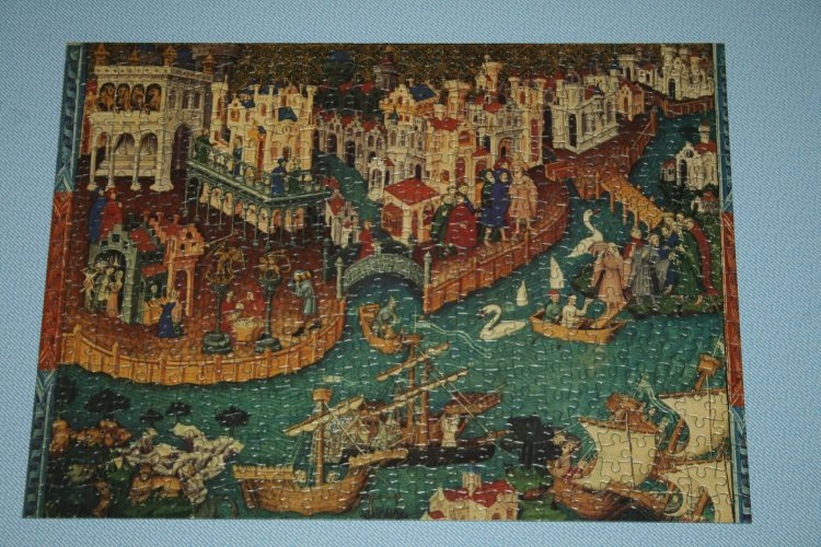 Image of the puzzle 500, Country House Treasures, Marco Polo Sets Sail from Venice, Complete, Picture of the puzzle