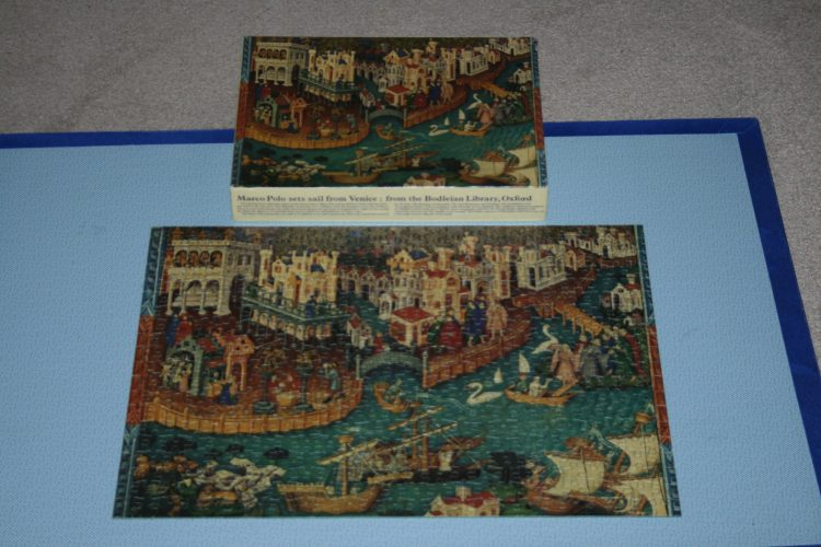 Image of the puzzle 500, Country House Treasures, Marco Polo Sets Sail from Venice, Complete, Picture of the puzzle and box