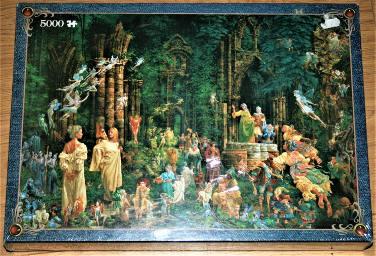 Image of the puzzle 5000, Jumbo, Court of the Fairies, James Christensen, Factory Sealed, PIcture of the box