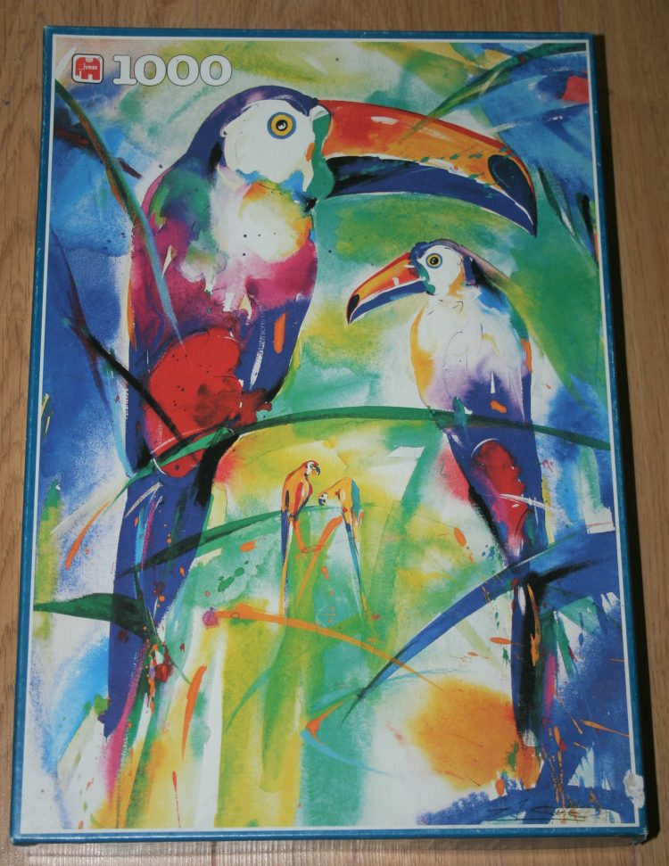 Image of the puzzle 1000, Jumbo, Couple of Toucans, by Alfred Gockel, Complete, Picture of the box