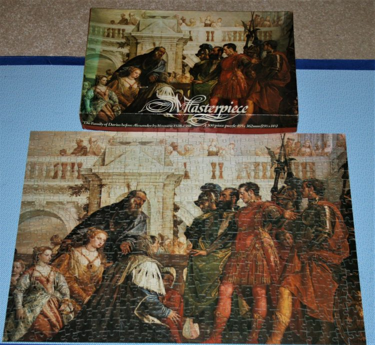 Image of the puzzle 500, Whitmore, The Family of Darius before Alexander, by Paolo Veronese, Complete, Picture of the box and puzzle