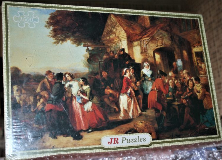 Image of the puzzle 1500, JR Puzzles, Arrival of the Coach, by Thomas Falcon Marshall, Factory Sealed, Picture of the box