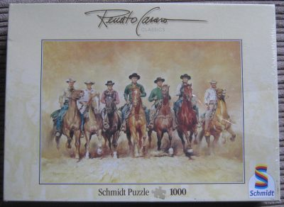 Image of the puzzle 1000, Schmidt, The Magnificent Seven, by Renato Casaro, Factory Sealed, Picture of the box