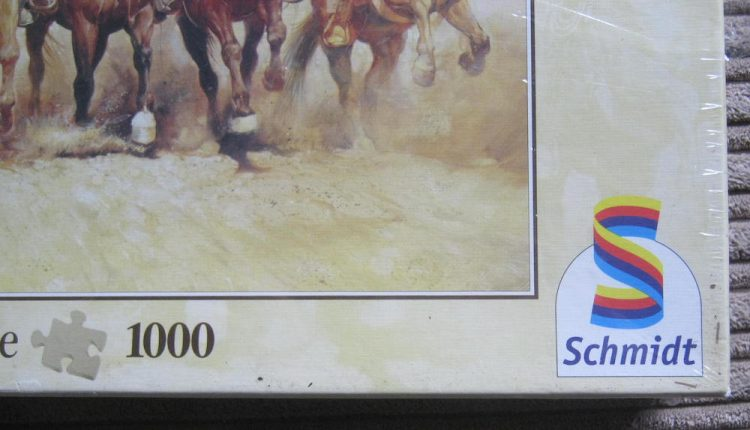 Image of the puzzle 1000, Schmidt, The Magnificent Seven, by Renato Casaro, Factory Sealed, Detail of the box
