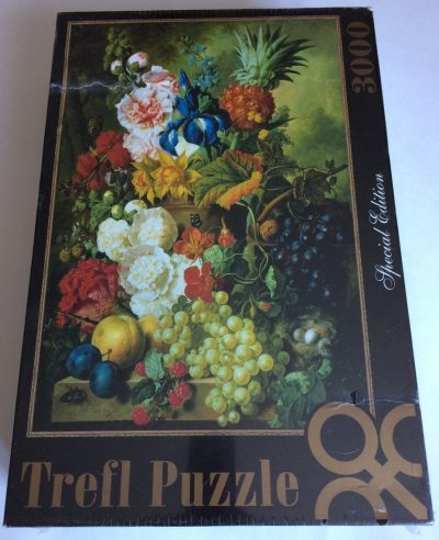 Image of the puzzle 3000, Trefl, A Rich Still Life of Summer Flowers, by Jan van Os, Factory Sealed, Picture of the box