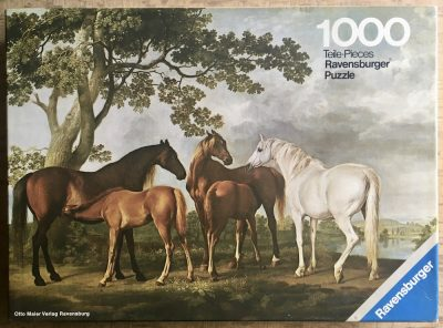 Image of the puzzle 1000, Ravensburger, Mares and Foals, by George Stubbs, Complete, Picture of the box