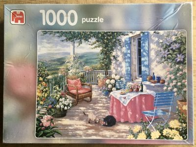 Image of the puzzle 1000, Jumbo, Sunlit Verandah, by Peter Motz, Complete, Picture of the box