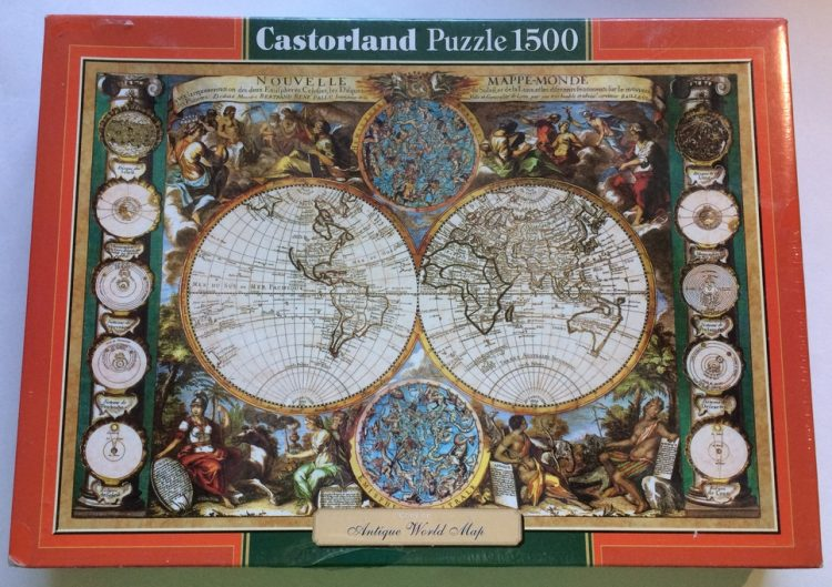 Image of the puzzle 1500, Castorland, Antique World Map, Factory Sealed, Listed by Olga, Picture of the box