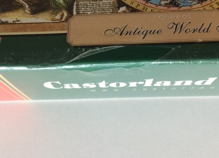 Image of the puzzle 1500, Castorland, Antique World Map, Factory Sealed, Listed by Olga, Detail of the box