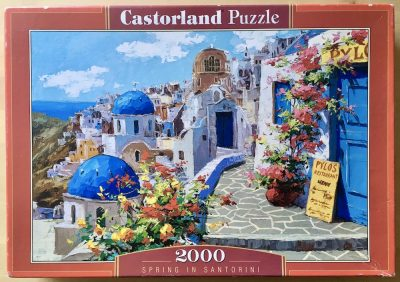 Image of the puzzle 2000, Castorland, Spring in Santorini, Complete, Picture of the box