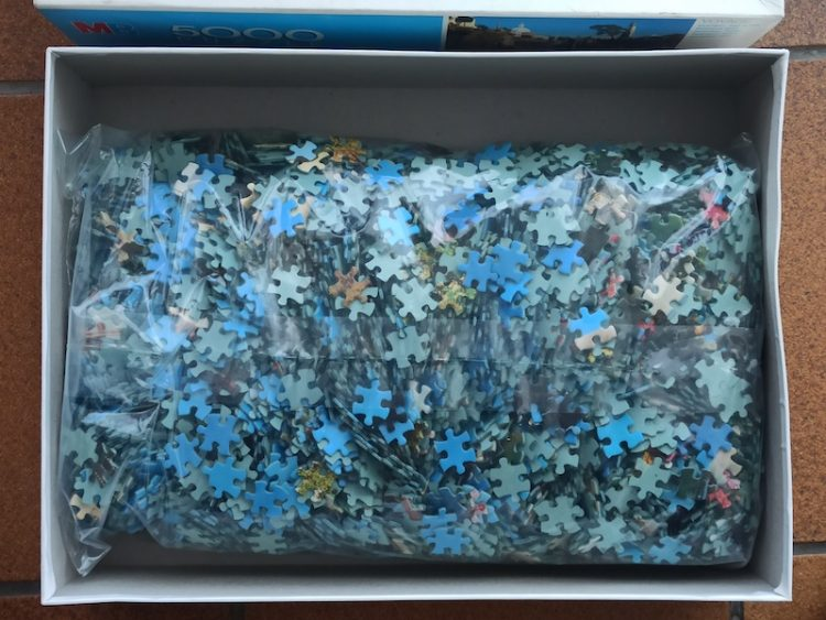Image of the puzzle 5000, MB, Portmeiron, Wales, Edmund Nägele, Sealed Bag, Picture of the bag