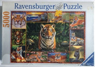 Image of the puzzle 5000, Ravensburger, Tiger, by Chris Hiett, Factory Sealed, Picture of the box
