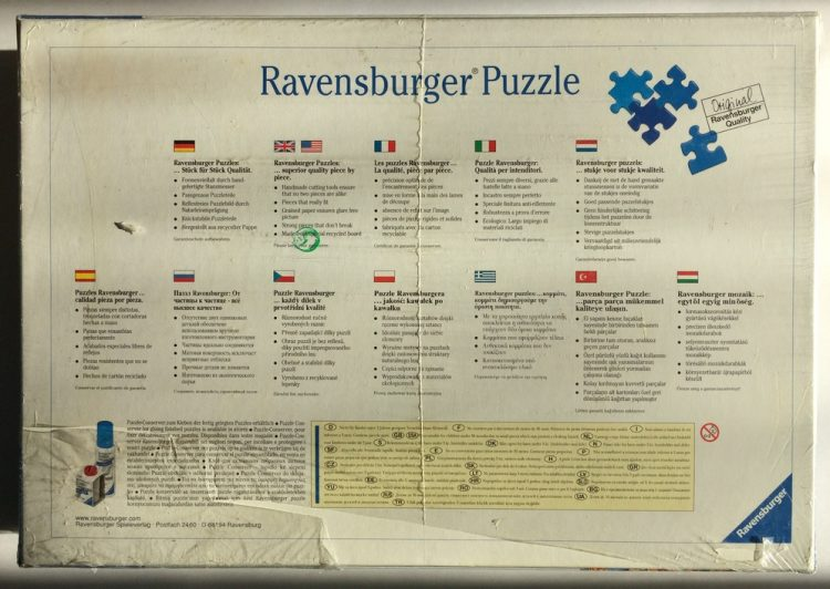 Image of the puzzle 5000, Ravensburger, Tiger, by Chris Hiett, Factory Sealed, Picture of the back