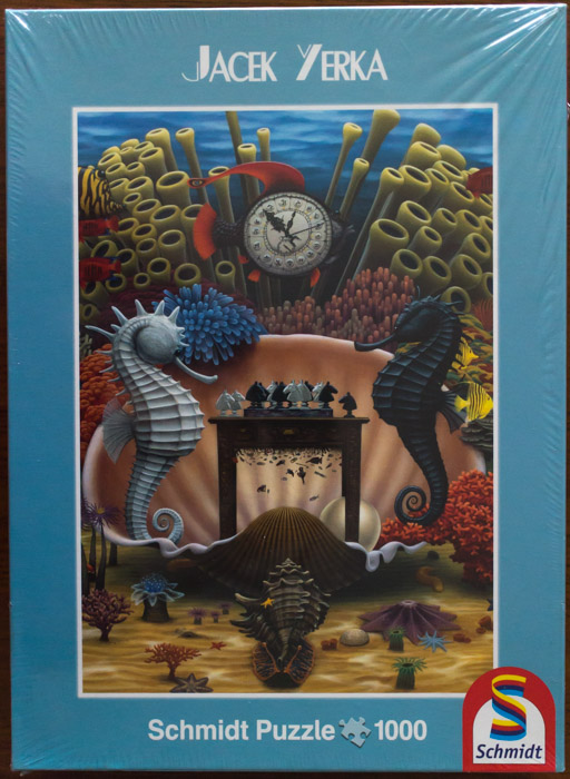 Image of the puzzle 1000, Schmidt, Playing Chess in the Sea, by Jacek Yerka, Factory Sealed, Picture of the box