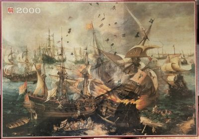 Image of the puzzle 2000, Jumbo, The Battle of Gibraltar, by Cornelis Claesz van Wieringen, Factory Sealed