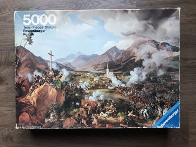 Image of the puzzle 5000, Ravensburger, The Last Battle of the Tirolese Against Napoleon, by Peter von Hess, Complete, Picture of the box