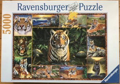 Image of the puzzle 5000, Ravensburger, Tiger, by Chris Hiett, Factory Sealed