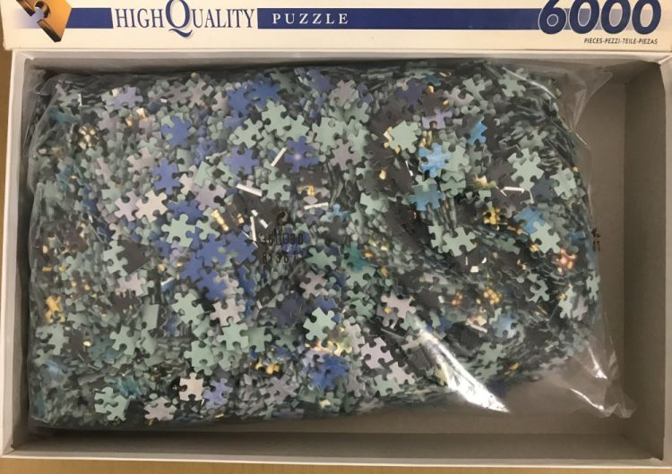 Image of the puzzle 6000, Clementoni, New York by Night, Factory Sealed, Picture of the bag