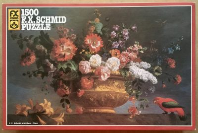 Image of the puzzle 1500, F.X. Schmid, Flower Piece with Parrot, by Jakob Bogdani, Sealed Bag, Picture of the box