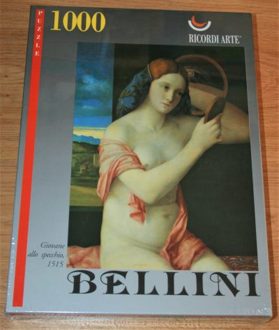 1000, Ricordi, Naked Young Woman in front of the Mirror, by Giovanni Bellini. Picture of the box.