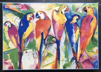 Image of the puzzle 3000, Jumbo, Parrots, by Alfred Gockel, Picture of the box