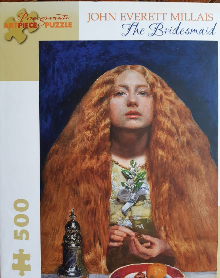 Image of the puzzle 500, Pomegranate, The Bridesmaid, by John Everett Millais, Sealed Bag, Picture of the box