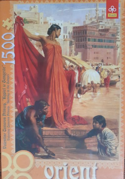 Image of the puzzle 1500, Trefl, Bathing in the Ganges, by Valentine Cameron Prinsep, Factory Sealed