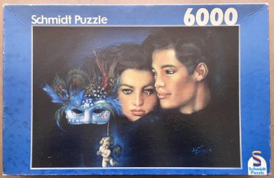 Image of the puzzle 6000, Schmidt, Mask in Blue, by Joy Caros, Complete, Picture of the box