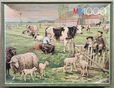 Image of the puzzle 1000, MB, In the Meadow, by Cornelis Jetses, Complete, Picture of the box
