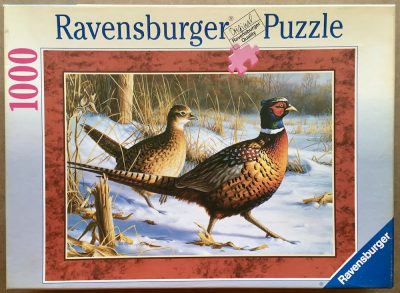 Image of the puzzle 1000, Ravensburger, Pheasants, by James Hautman, Complete, Picture of the box