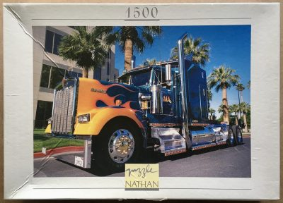Image of the puzzle 1500, Nathan, Kenworth W 900, by Francis Reyes, Complete, Picture of the box