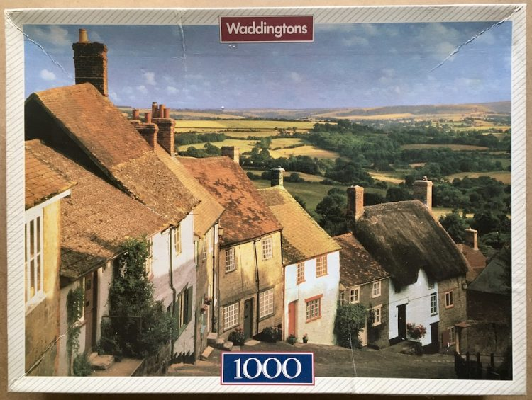 Image of the puzzle 1000, Waddingtons, Dorset, England, by Edmund Nagele, Complete, Picture of the box