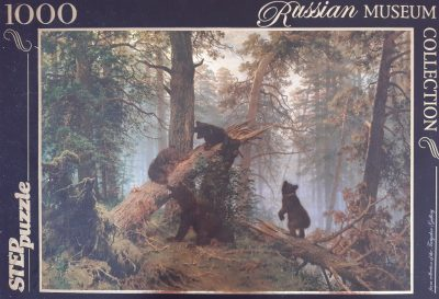 Image of the puzzle 1000, Step, Morning in a Pine Forest, by Shishkin & Savitsky, Sealed Bag, Picture of the box