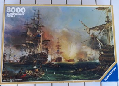 Image of the puzzle 3000, Ravensburger, Bombardment of Algiers, by George, Chambers, Sealed Bag, PIcture of the box