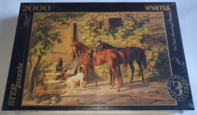 Image of the puzzle 2000, Step, Horses at the Porch, by Adam Albrecht, Factory Sealed