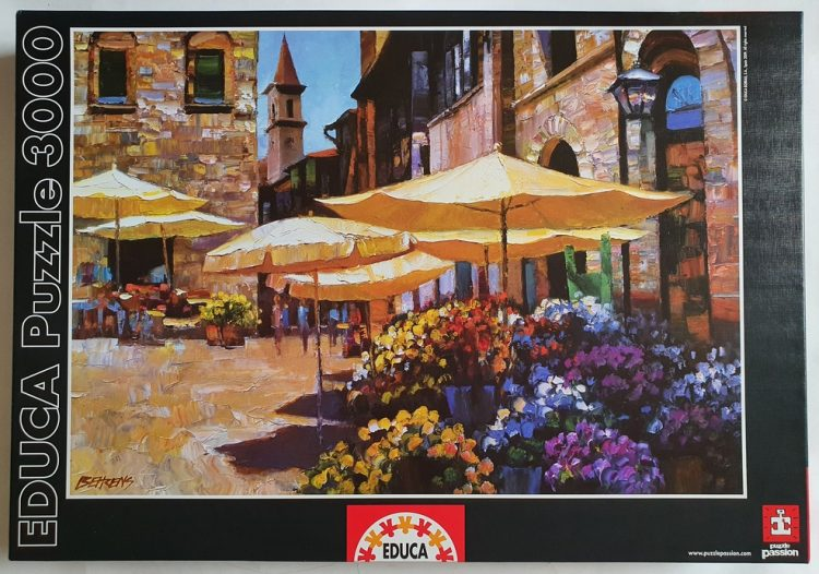 Image of the puzzle 3000, Educa, Sienna Flower Market, by Howard Behrens, Sealed Bag, Picture of the box