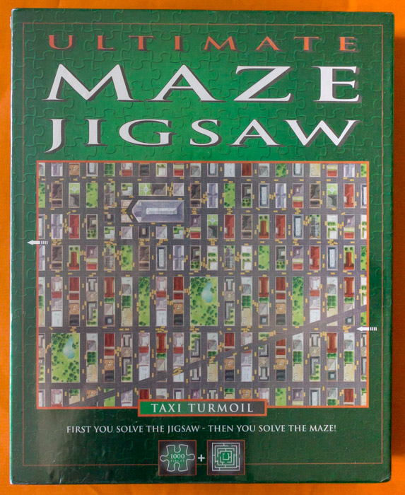 Image of the puzzle 1000, Lagoon, Taxi Turmoil, Ultimate Maze Jigsaw, Factory Sealed, Picture of the box