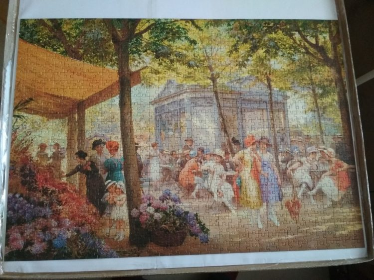 Image of the puzzle 1000, Ravensburger, A Parisian Flower Market, by Eugène Duelly, Complete, Picture fo the puzzle