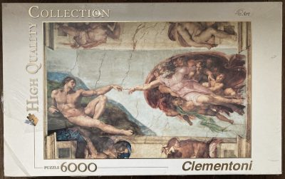 Image of the puzzle 6000, Clementoni, The Creation of Adam, by Michelangelo, Factory Selaed, Picture of the box