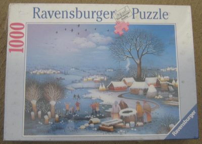 Image of the puzzle 1000, Ravensburger, Winter in the Village, by Martin Dukin, Factory Sealed