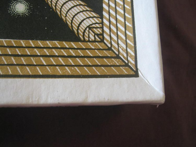 Image of the puzzle 1000, Selegiochi, Another World, by Escher, Sealed Bag, Picture of the corner