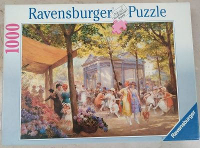 Image of the puzzle 1000, Ravensburger, A Parisian Flower Market, by Eugène Duelly, Complete, Picture of the box