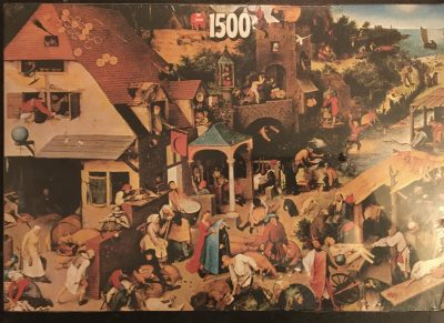 Image of the puzzle 1500, Jumbo, Dutch Proverbs, Pieter Bruegel the Elder, Factory Sealed, Picture of the box