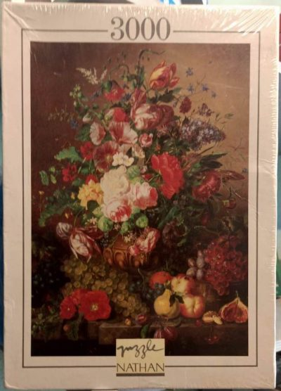 Image of the puzzle 3000, Nathan, Still Life with Flowers and Fruit, by Amalie Kärcher, Factory Sealed, Picture of the box