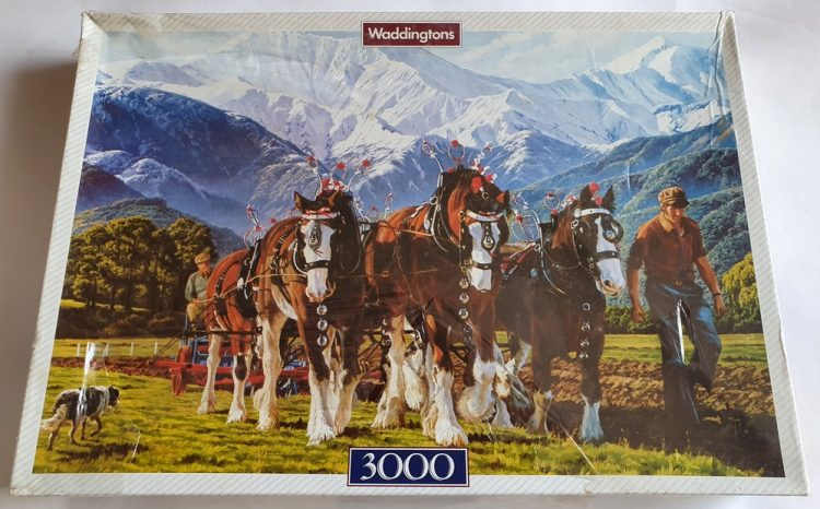 Image of the puzzle 3000, Waddingtons, Ploughing, by Peter Moranth, Factory Sealed, Picture of the box