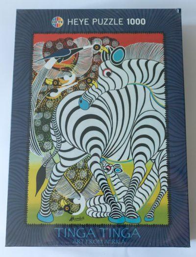 Image of the puzzle 1000, Heye, Zebra, Tinga Tinga, Steven Mkumba. Picture of the box.