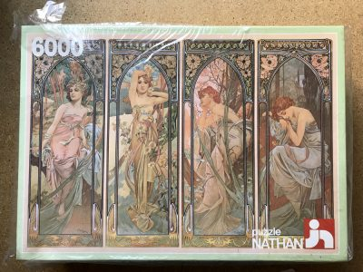Image of the puzzle 6000, Nathan, The Four Times of Day, Alphonse Mucha, Factory Sealed, Picture of the box